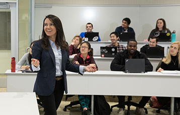 Bryant Professor Sharmin Attaran teaches at the Academic Innovation Center