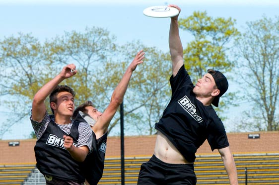 Players from Bryant's ultimate frisbee team practice