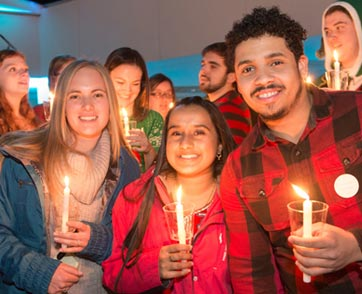 A group of students take part in the annual Festival of Lights celebration